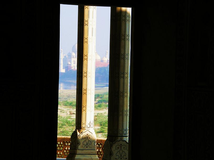 glimpse of the Taj Mahal from Musamman Burj, Agra Fort