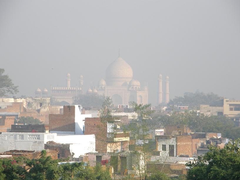 Taj Mahal over the rooftops of Agra